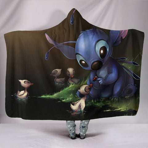 Lilo And Stitch Hooded Blankets -  Lilo And Stitch Super Cute Hooded Blanket