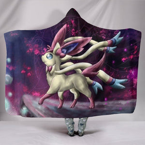 Pokemon Sylveon Hooded Blanket - Magical Beast Black Blanket