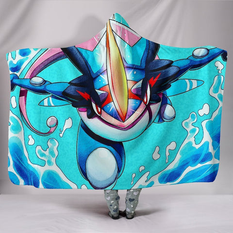 Pokemon Greninja Hooded Blanket - Flying Blue Blanket