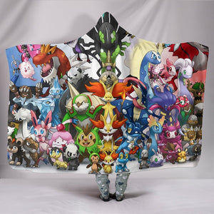 Anime Pokemon Hooded Blanket - Team Together Blanket