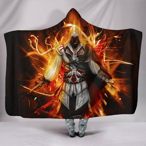 Image of Assassin's Creed Hooded Blanket - Fire Black Blanket
