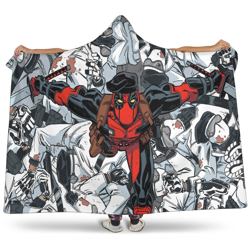 Deadpool Hooded Blanket - Fighting Grey Blanket