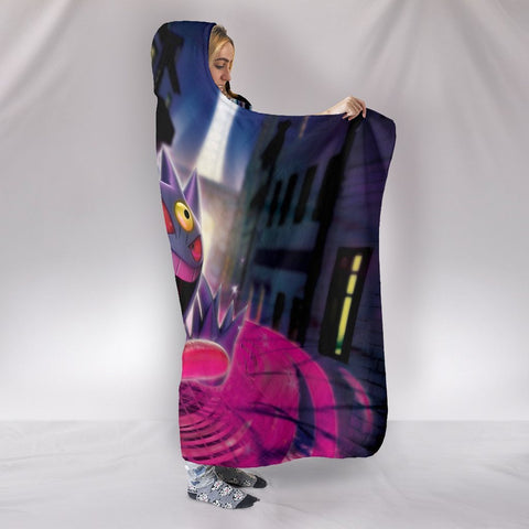 Image of Digimon Pokemon Hooded Blanket - Mega Gengar Black Blanket