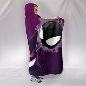 Pokemon Gastly Haunter And Gengar Hooded Blanket - Demon Black Blanket