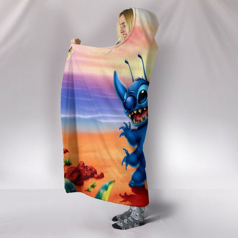 Lilo And Stitch Hooded Blankets - Lilo And Stitch Anime Cute Hooded Blanket