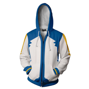 Vocaloid Kaito Hoodies - Zip Up Blue Hoodie