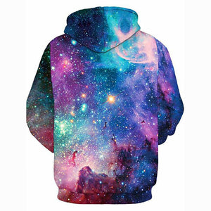 3D Galaxy Hoodie - Hooded Active Slip-on Pullover