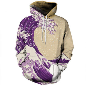 Purple Wave Art Hoodie