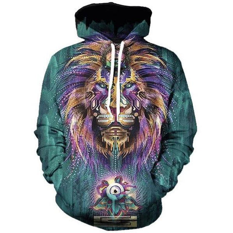 Image of Purple Mane Lion 3D Printed Hoodie