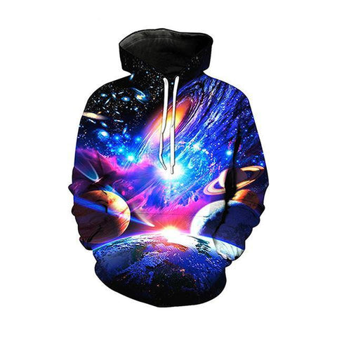 Image of Pink Planets And Stars Galaxy Hoodie