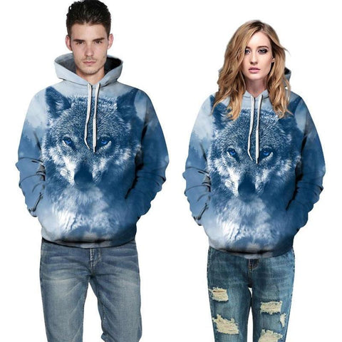 Image of Unisex Winter Wolf 3D Pattern Hoodie