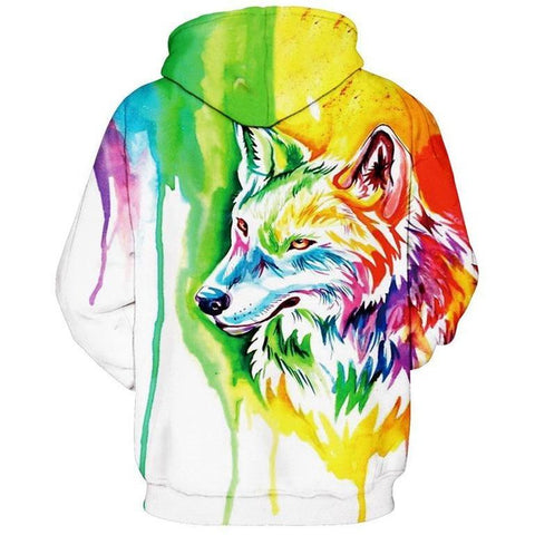 Image of Unisex Rainbow Colour Wolf 3D Printed Hoodie