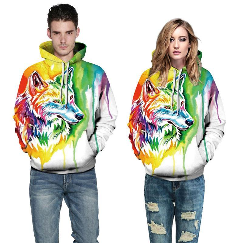Unisex Rainbow Colour Wolf 3D Printed Hoodie