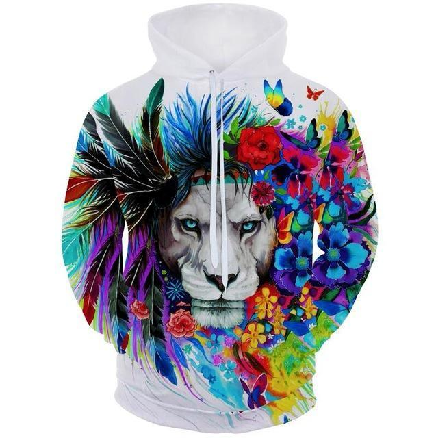 Colourful Flower Lion Hoodie