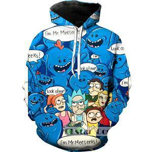 3D Cartoon Rick and Morty Blue Hoodie