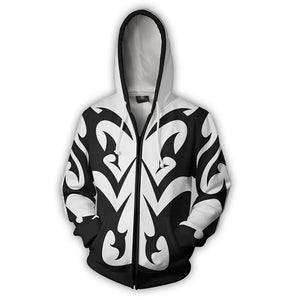 Kingdom Hearts Xemnas Hoodies -  Zip Up Black-white Hoodie