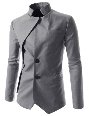 Image of Men's Goth Vintage Stand Collar Irregular Design Suit Jacket