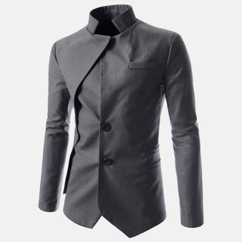 Men's Goth Vintage Stand Collar Irregular Design Suit Jacket