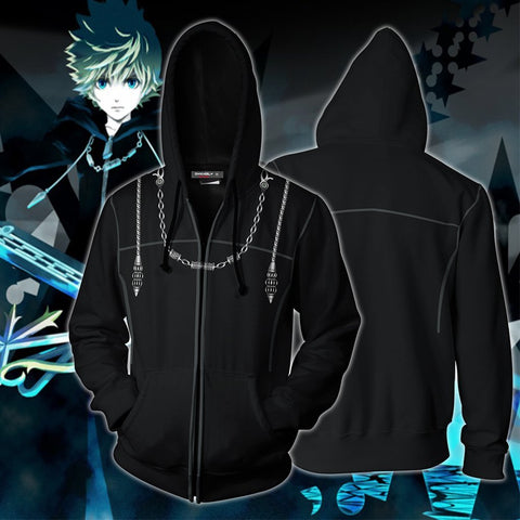 Kingdom Hearts III Roxas Hoodies - Zip Up Cosplay Hoodie