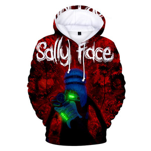 Sally Face Hoodies - Sally Face Series Game Character Sally Face Decisive Battle Red Hoodie