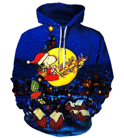 Image of Christmas Snoopy Peanuts Hoodies - Pullover Blue Hoodie