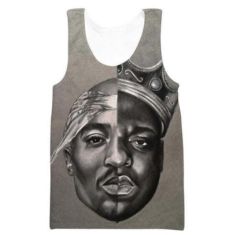 Image of 2Pac and Notorious Big Hoodies - Biggie Smalls Tupac Pullover Grey Hoodie
