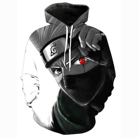 3D Anime Naurto Hatake Kakashi Character Hoodie-Hooded Casual Pullover