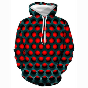 3D Geometric Color Block Printed Hooded Basic Pullover - Casual Hoodie