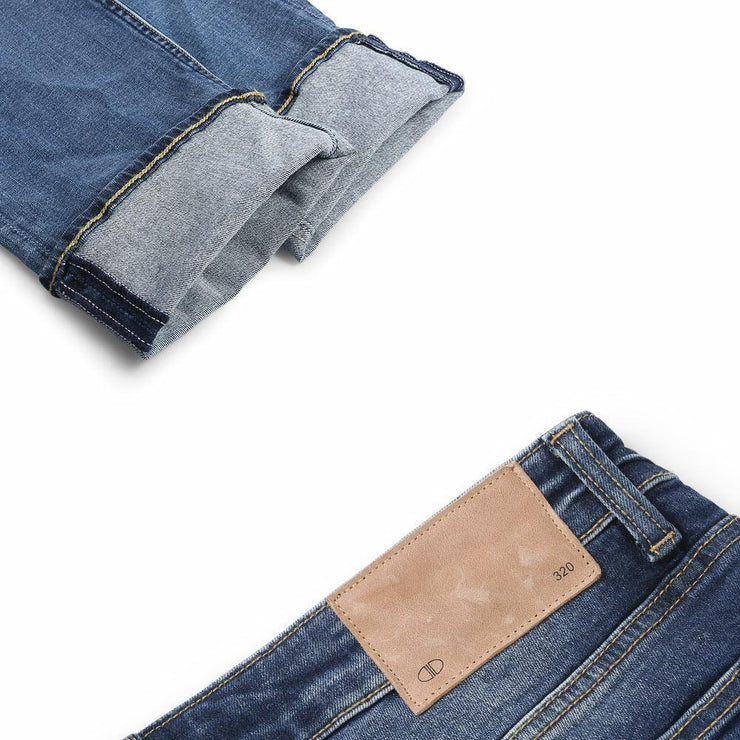 D-ID Mens' 320 Skinny-Fit Stretch Jeans Medium Rise Mid Blue