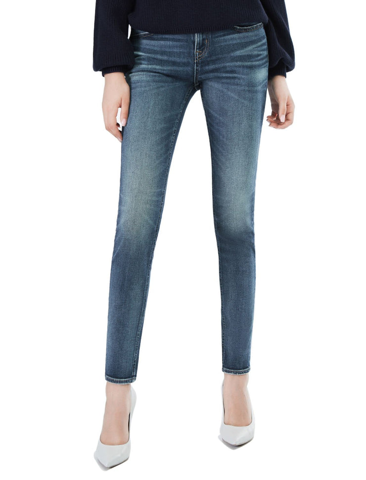 D-ID Women's 220 Skinny Fit Jeans Regular Waist Vintage Mid Blue
