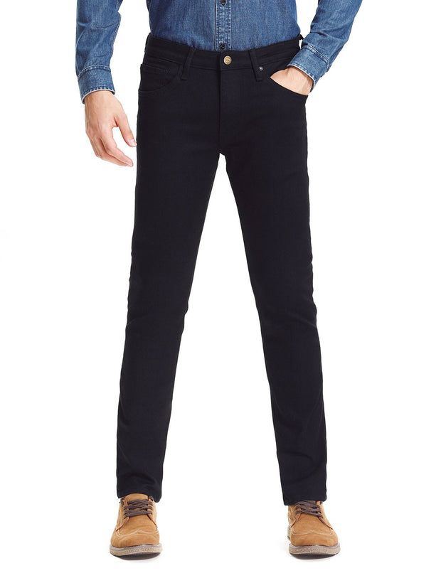 D-ID Mens' 330 Slim-Fit Stretch Jean Medium Rise Black