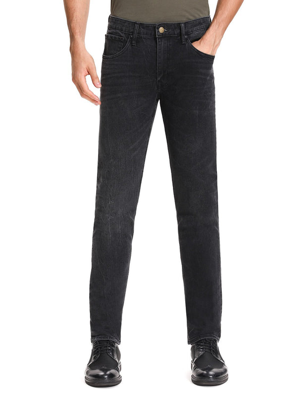 D-ID Mens' 330 Slim-Fit Stretch Jean Medium Rise Black Worn
