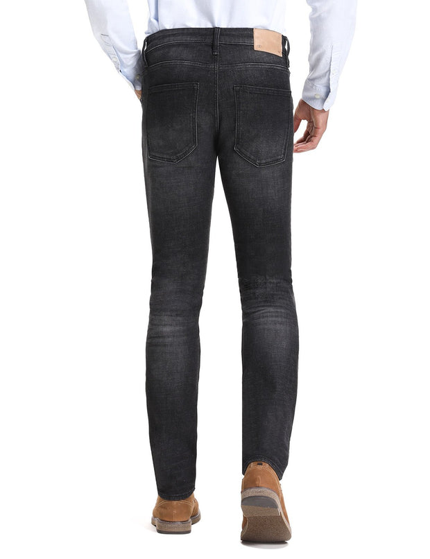 D-ID Mens' 330 Slim-Fit Stretch Jean Medium Rise Dark Grey