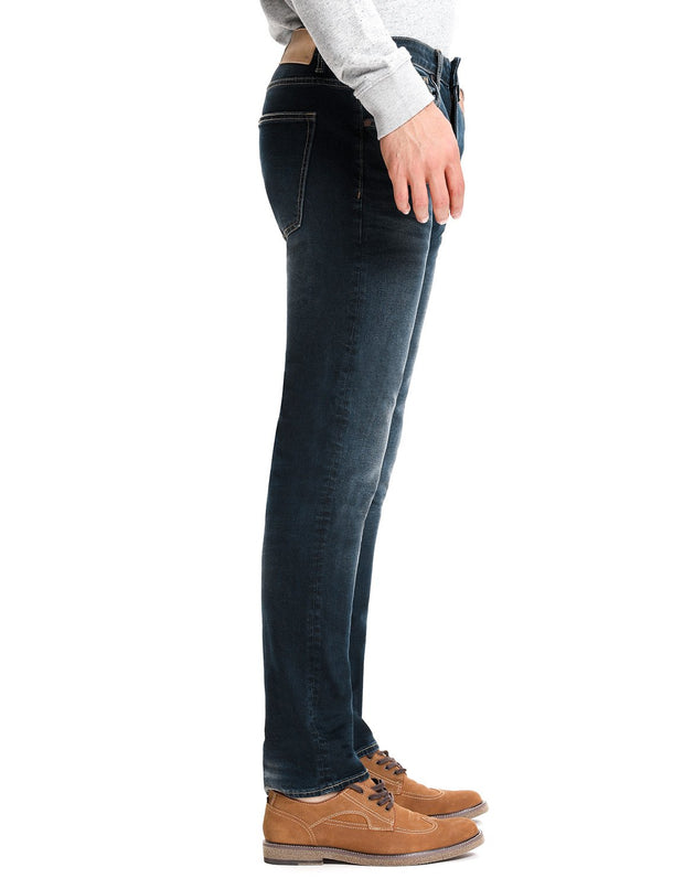 D-ID Mens' 330 Slim-Fit Stretch Jean Medium Rise Deep Blue