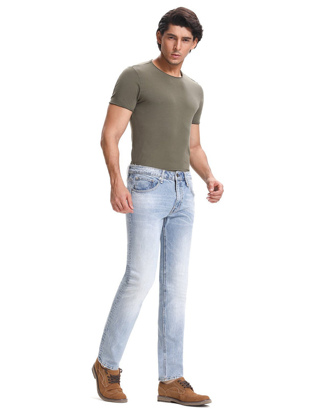 D-ID Mens' 330 Slim-Fit Stretch Jean Medium Rise Faded Light Blue