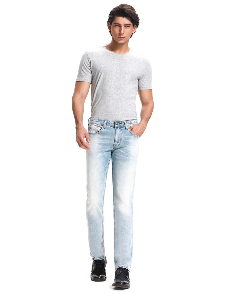 D-ID Men's 342 Relaxed Straight Leg Stretch Jeans Medium Rise Light Blue