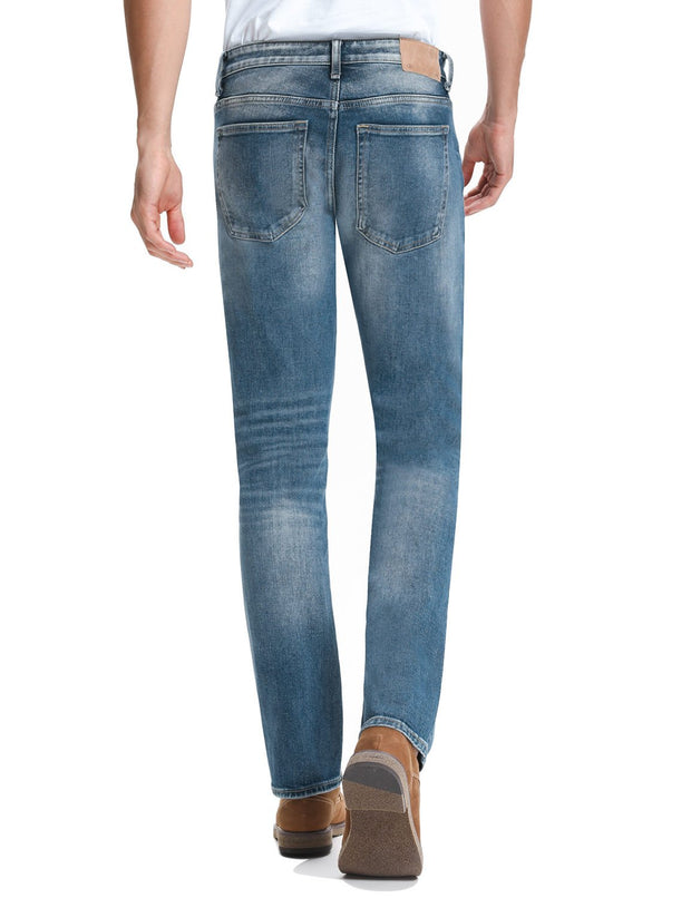 D-ID Men's 342 Relaxed Straight Leg Stretch Jeans Medium Rise Mid Blue