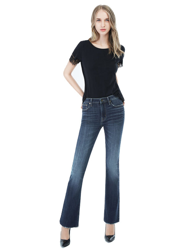 Women's Slim Fit 267 Boot Cut Jeans Regular Waist Mid Blue
