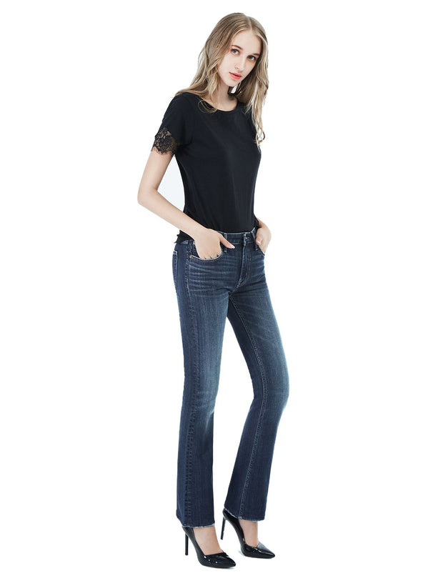 Women's Slim Fit 268 Boot Cut Jeans Regular Waist Mid Blue