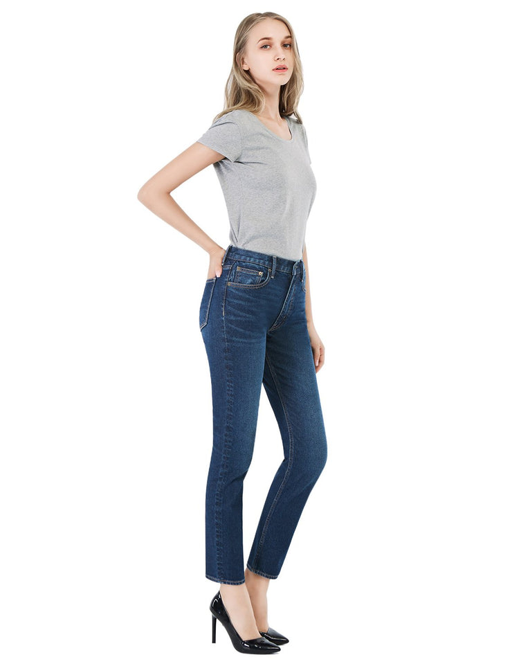 Women's 257 Premium Slimming Straight Leg Taper Jeans High Waist Mid Blue