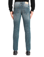 D-ID Mens' 330 Slim-Fit Stretch Jean Medium Rise Vintage Blue