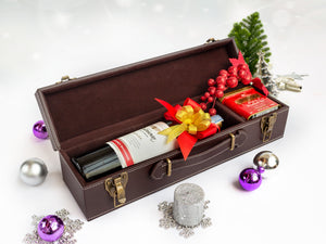 Luxury Leather Bacco Red Wine Case