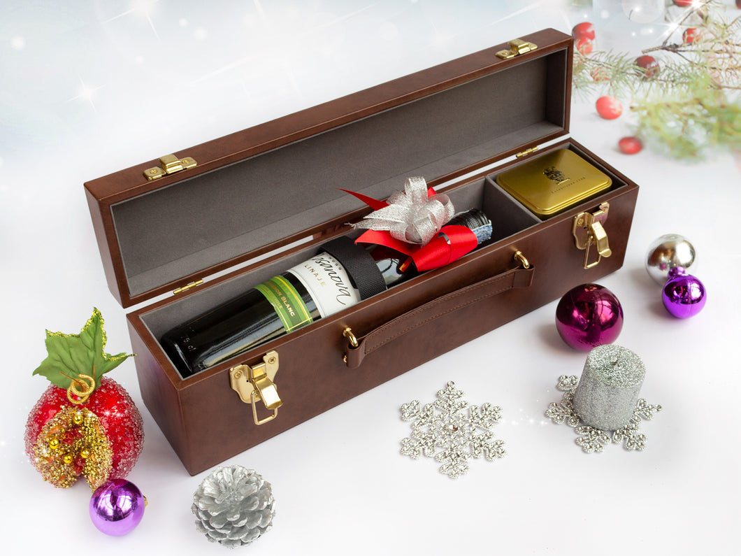 Luxury Leather Bacco White Wine Case