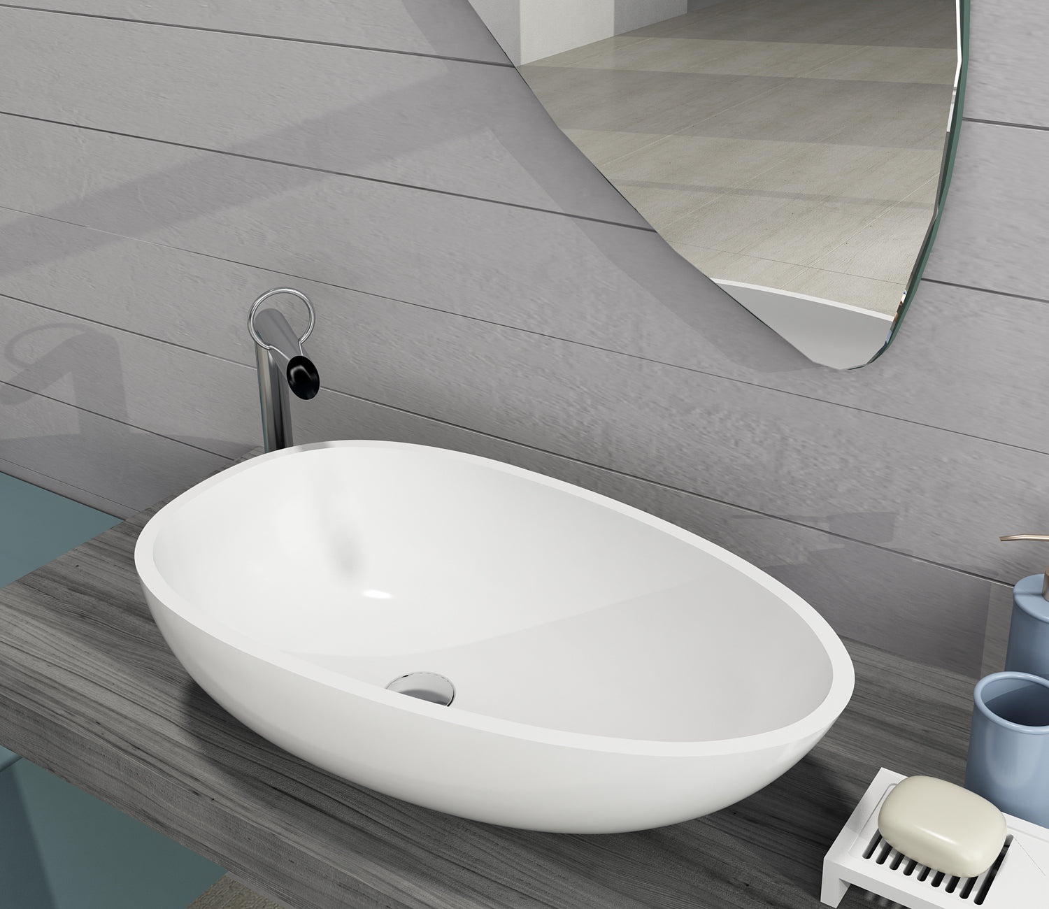 Crystal Solid Surface Above Counter Basin