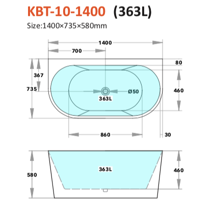 KBT-10 Back To Wall Bath (Matte Or Gloss White)