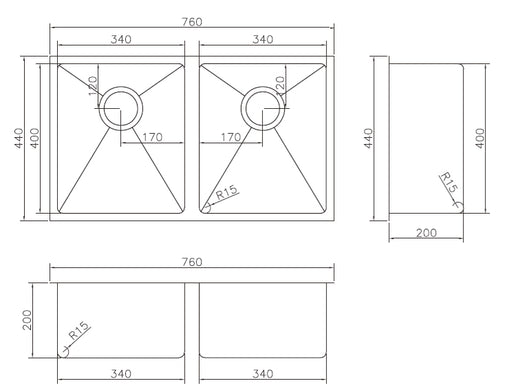 M-S203B Double Undermount Sink