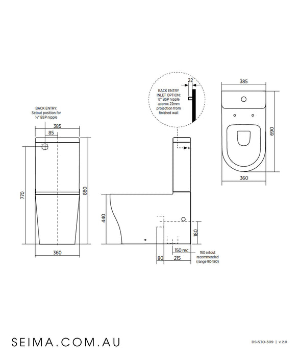 Limni III Rimless Easy Height Toilet Suite