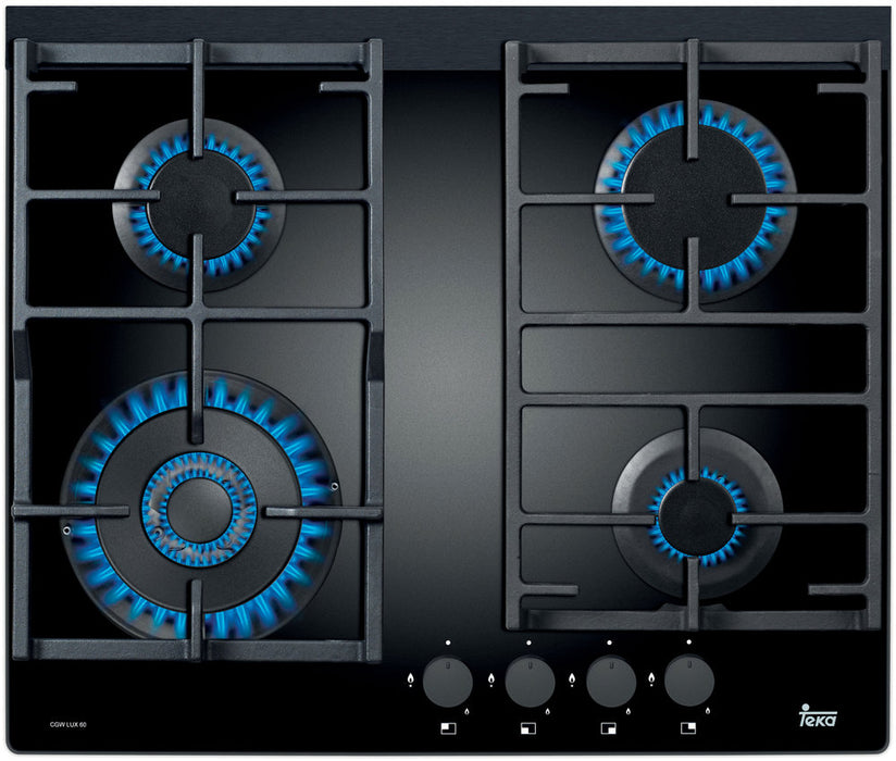 60cm Gas on Glass Cooktop with Wok Burner