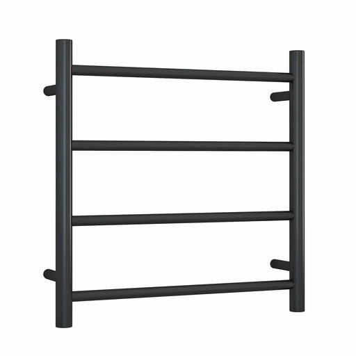 SR25MB Matt Black Straight Round Ladder Heated Towel Rail
