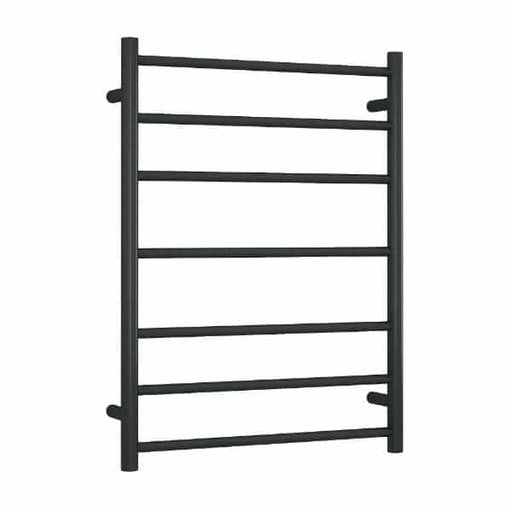 SR4412B 12Volt Matt Black Straight Round Ladder Heated Towel Rail